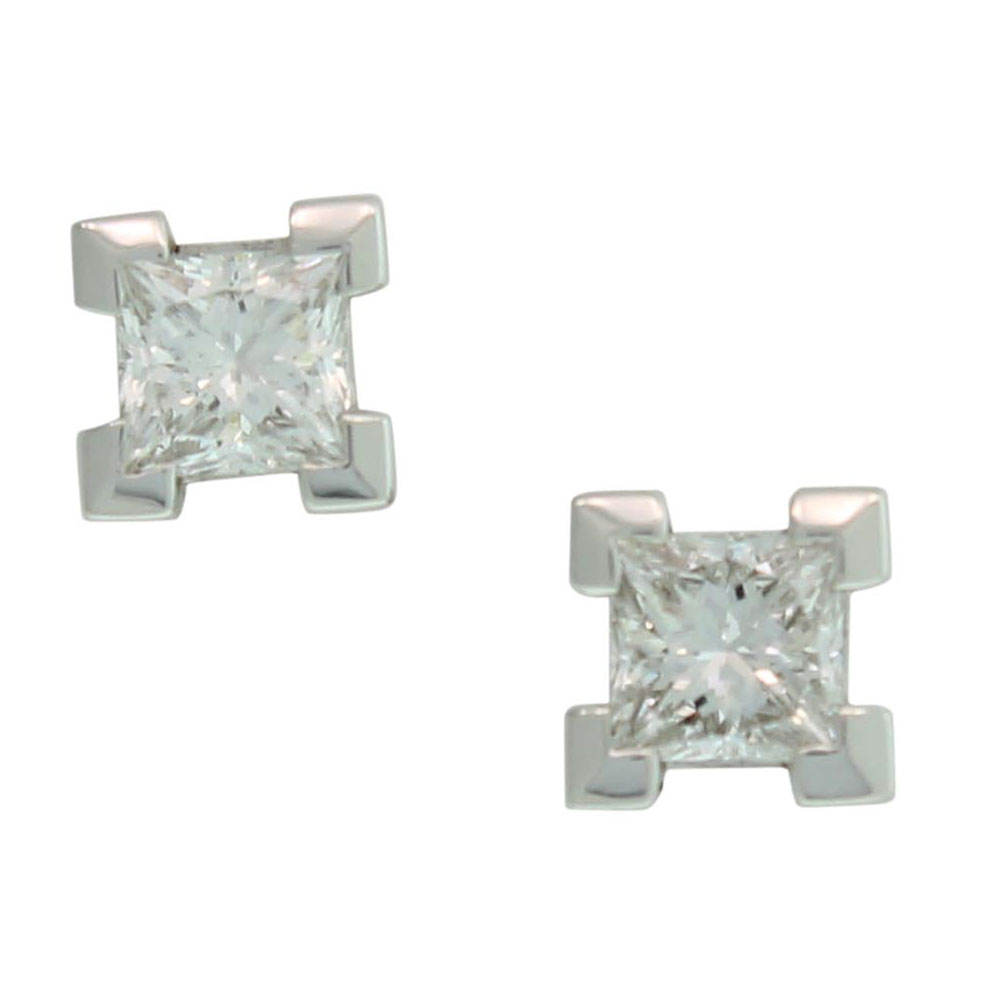 18CT WHITE GOLD 0.50CT PRINCESS CUT DIAMOND STUDS