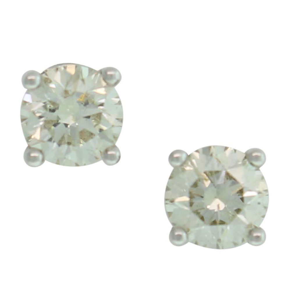 18CT WHITE GOLD 1.02CT ROUND BRILLIANT CUT DIAMOND STUDS