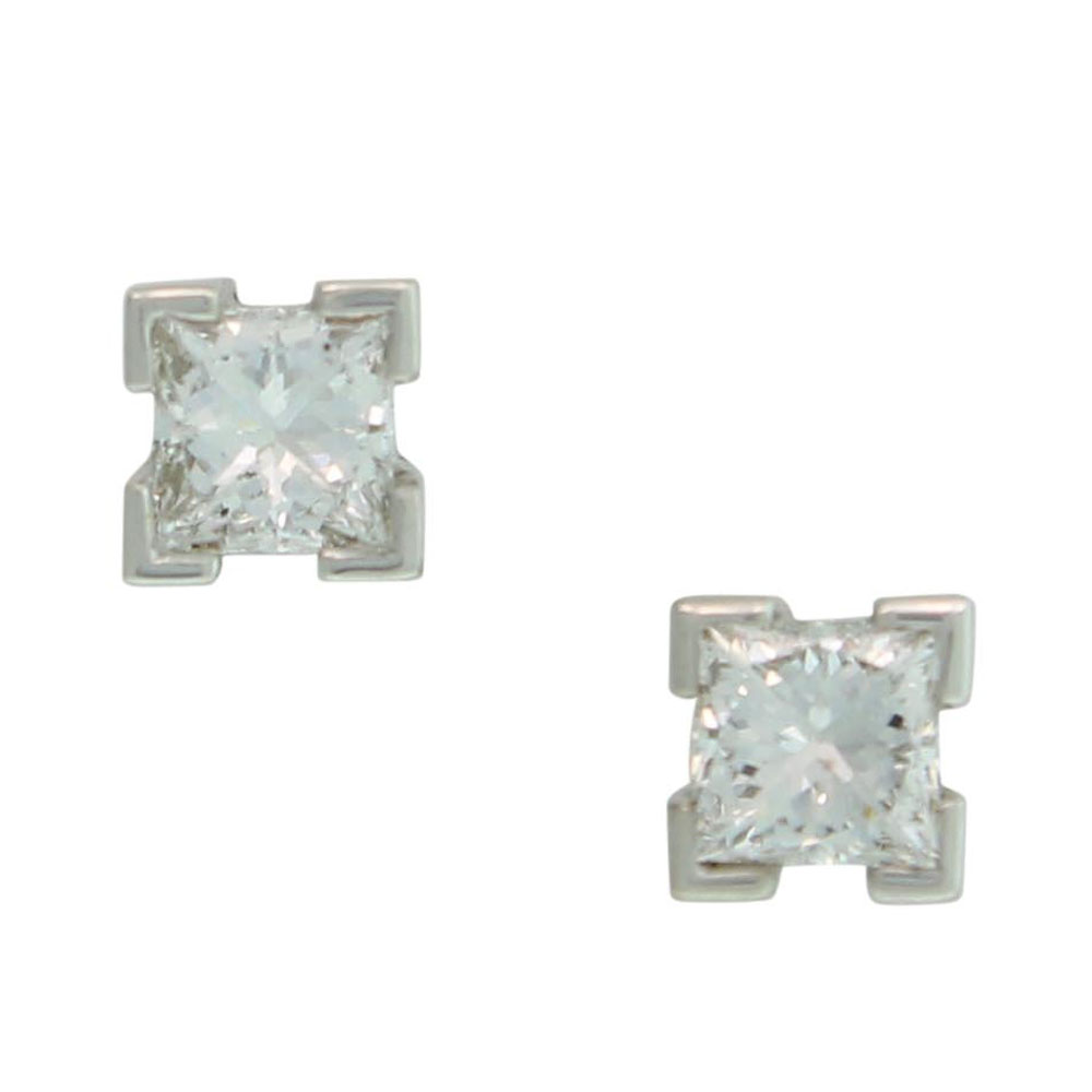 18CT WHITE GOLD 0.40CT PRINCESS CUT DIAMOND STUDS