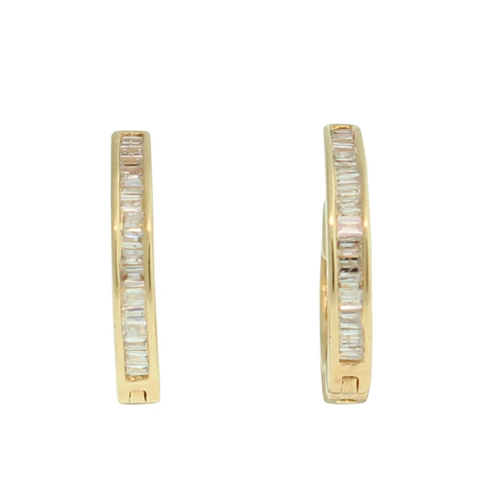 18CT YELLOW GOLD 0.12CT DIAMOND SET HUGGIES