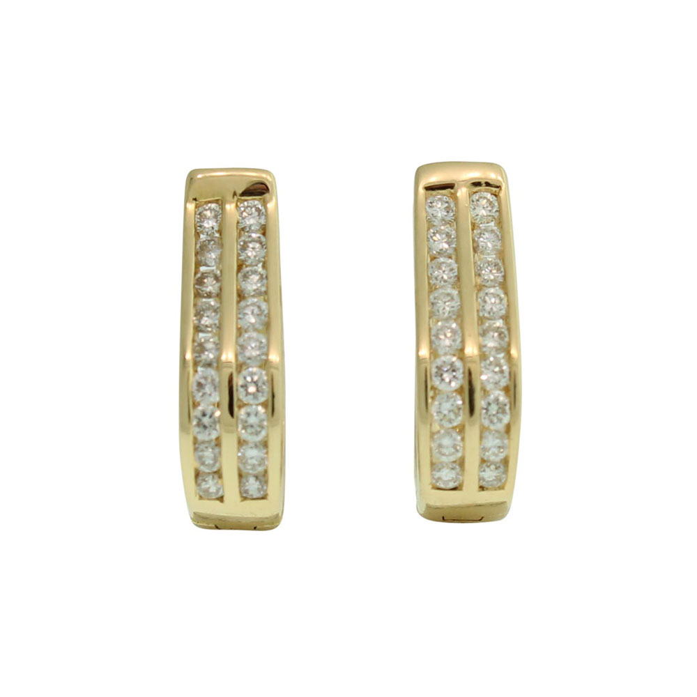 18CT YELLOW GOLD 0.50CT DIAMOND SET HUGGIES
