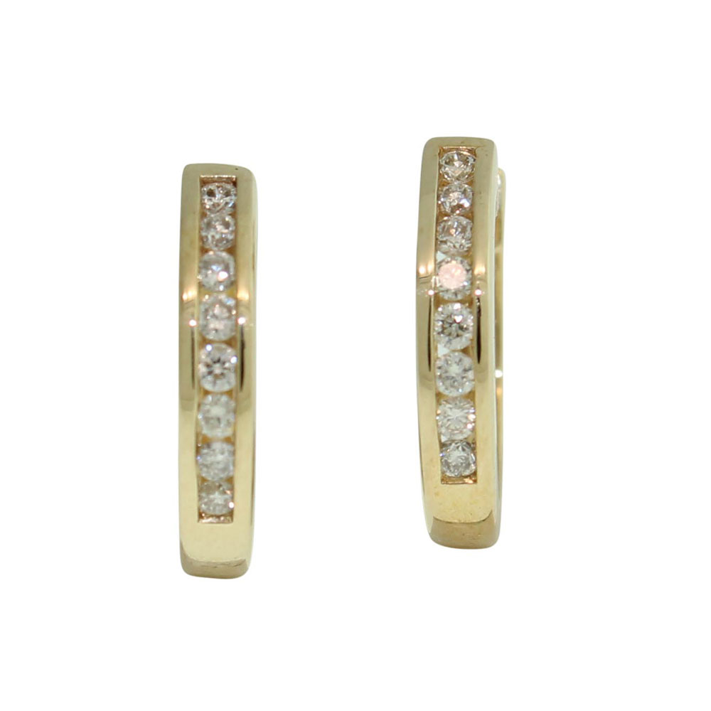 9CT YELLOW GOLD 0.20CT DIAMOND SET HUGGIES