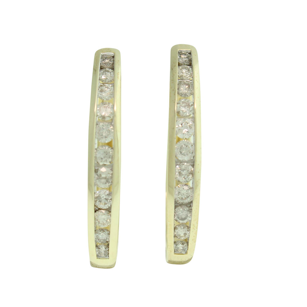 9CT YELLOW GOLD 1.00CT DIAMOND HUGGIES