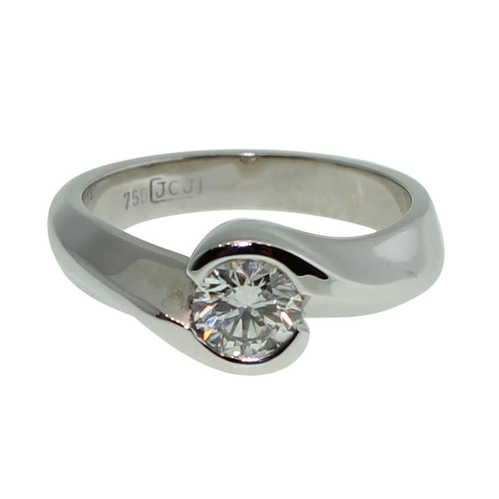 18CT WHITE GOLD HANDMADE ROUND BRILLIANT CUT 0.55CT DIAMOND ENGAGEMENT RING
