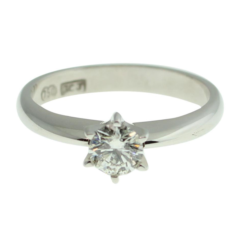 18CT WHITE GOLD ROUND BRILLIANT CUT 0.50CT DIAMOND ENGAGEMENT RING 1