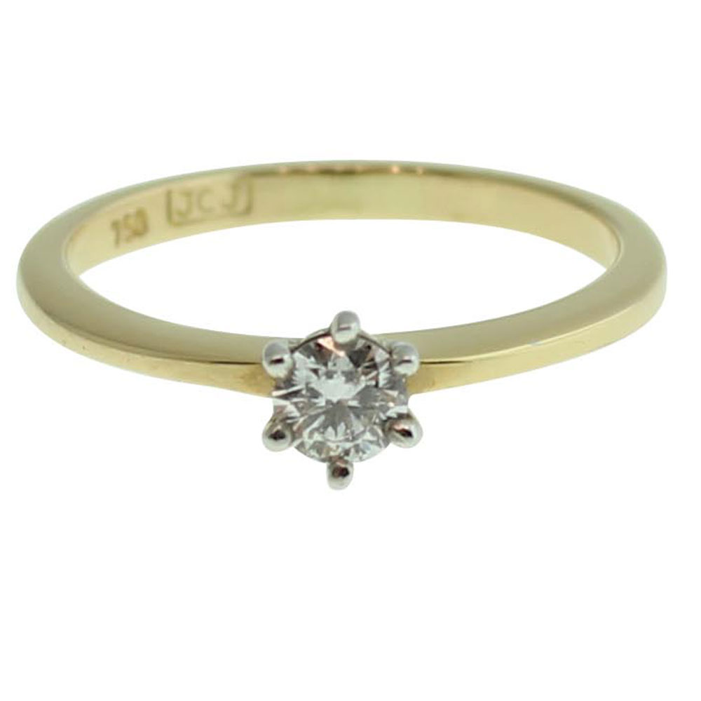 18CT YELLOW GOLD ROUND BRILLIANT CUT 0.20CT DIAMOND ENGAGEMENT RING