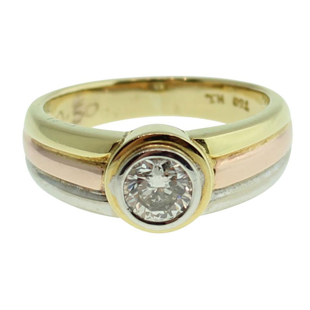 18CT YELLOW GOLD ROUND BRILLIANT CUT 0.50CT DIAMOND ENGAGEMENT RING