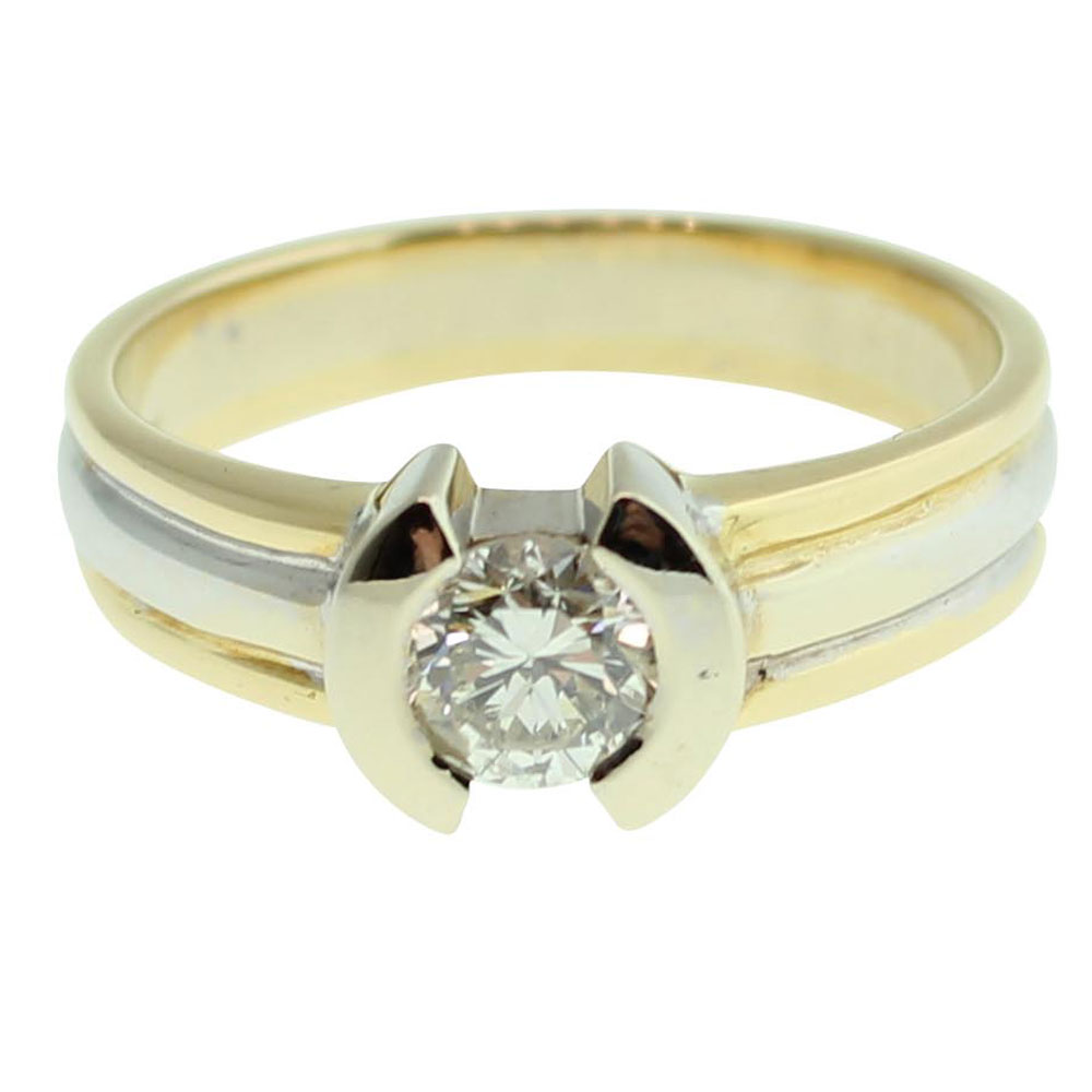 18CT YELLOW GOLD ROUND BRILLIANT CUT 0.57CT DIAMOND ENGAGEMENT RING