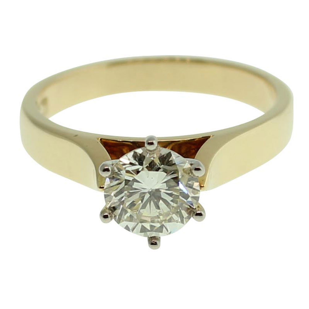 18CT YELLOW GOLD ROUND BRILLIANT CUT 1.01CT DIAMOND ENGAGEMENT RING