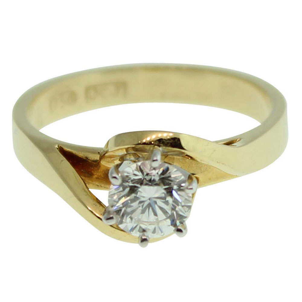 18CT YELLOW GOLD, HANDMADE ROUND BRILLIANT 0.51CT DIAMOND ENGAGEMENT RING