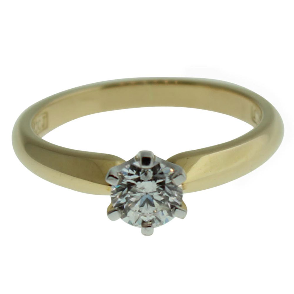 18CT YELLOW GOLD ROUND BRILLIANT 0.53CT DIAMOND ENGAGEMENT RING
