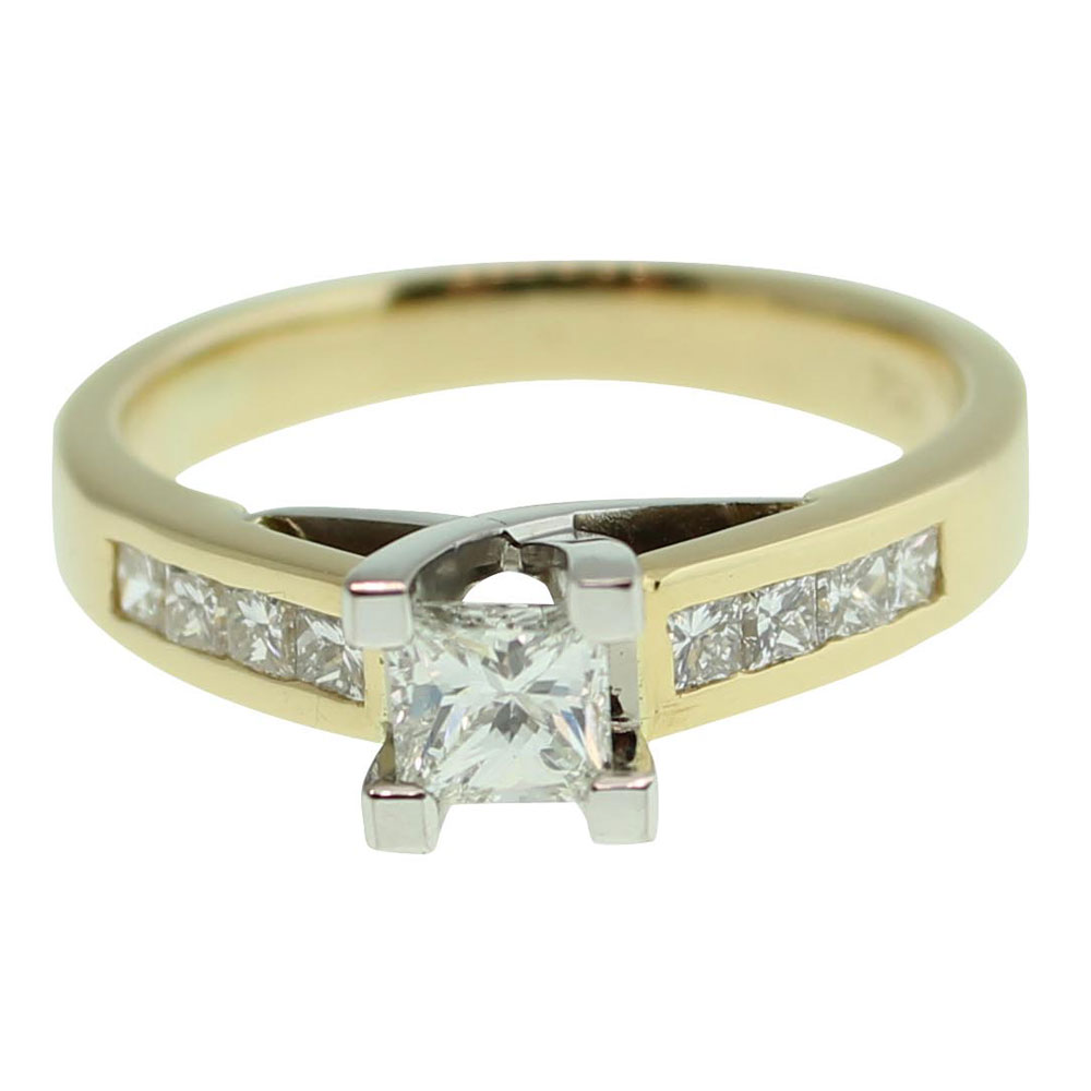 18CT YELLOW GOLD PRINCESS CUT 0.32CT DIAMOND ENGAGEMENT RING