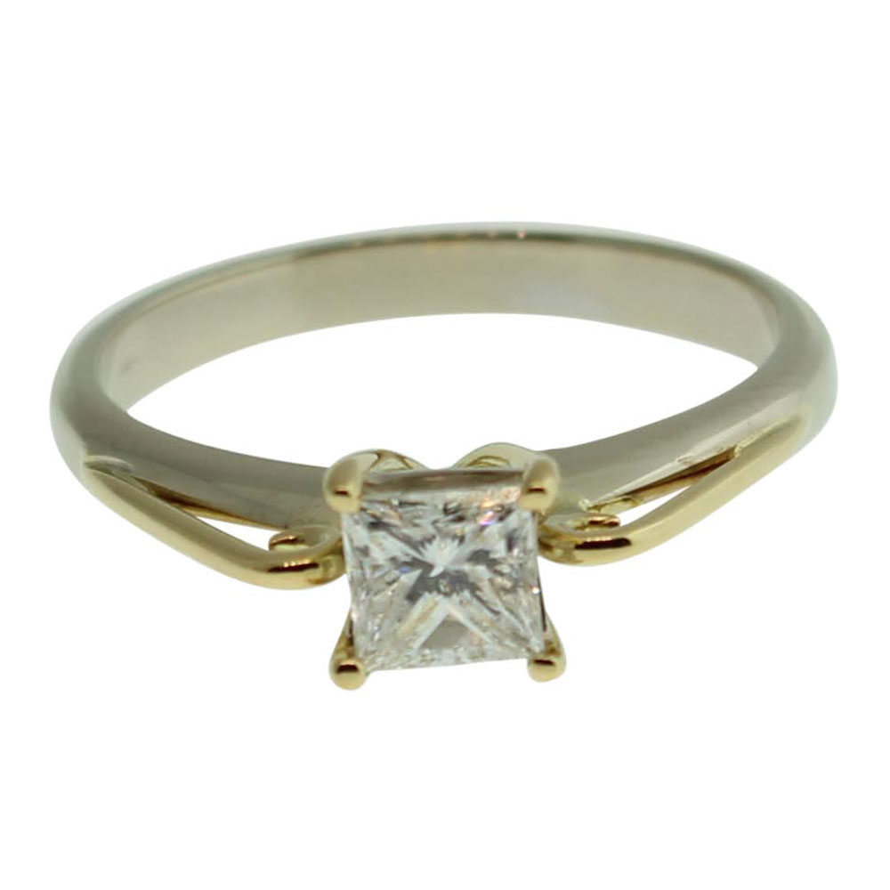 18CT YELLOW GOLD, HANDMADE PRINCESS CUT 0.53CT DIAMOND ENGAGEMENT RING