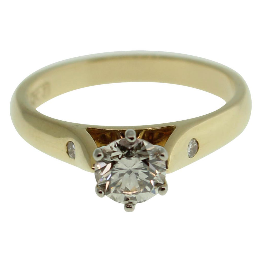 18CT YELLOW GOLD ROUND BRILLIANT 0.56CT DIAMOND ENGAGEMENT RING