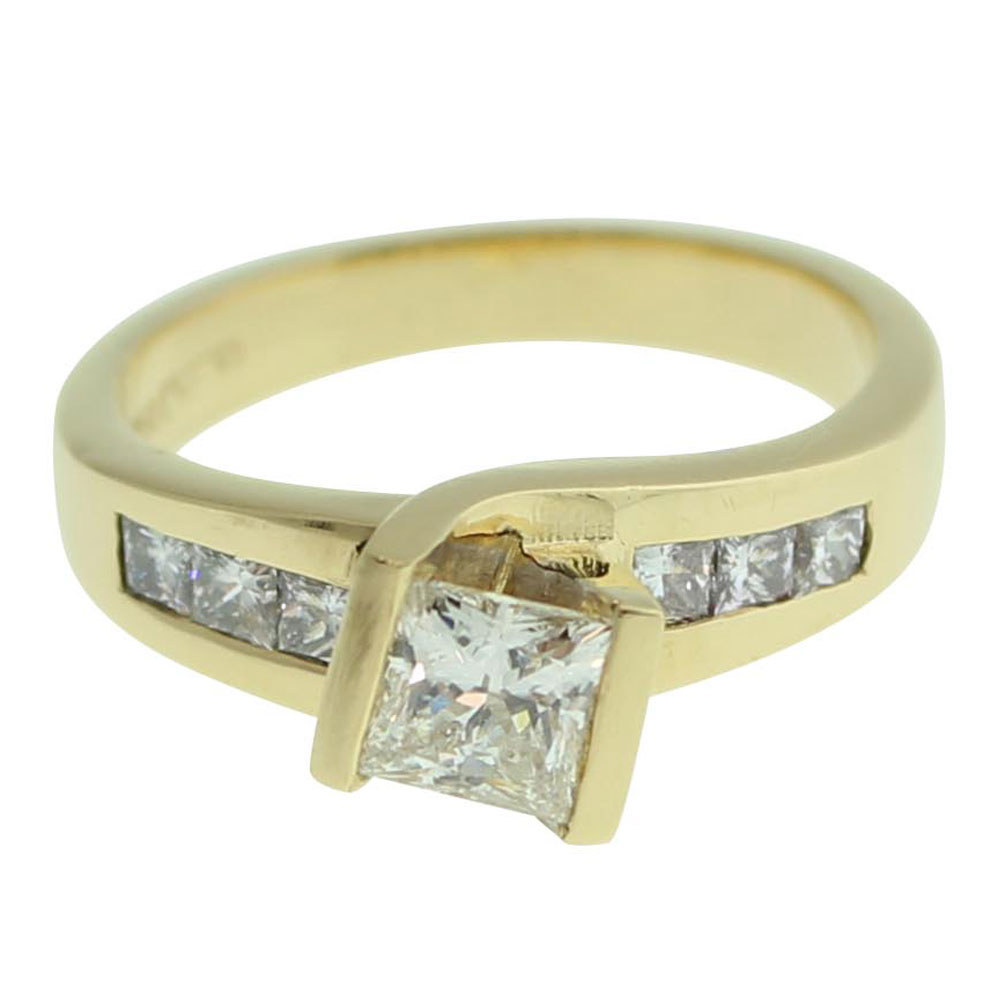 18CT YELLOW GOLD PRINCESS CUT 0.51CT DIAMOND ENGAGEMENT RING