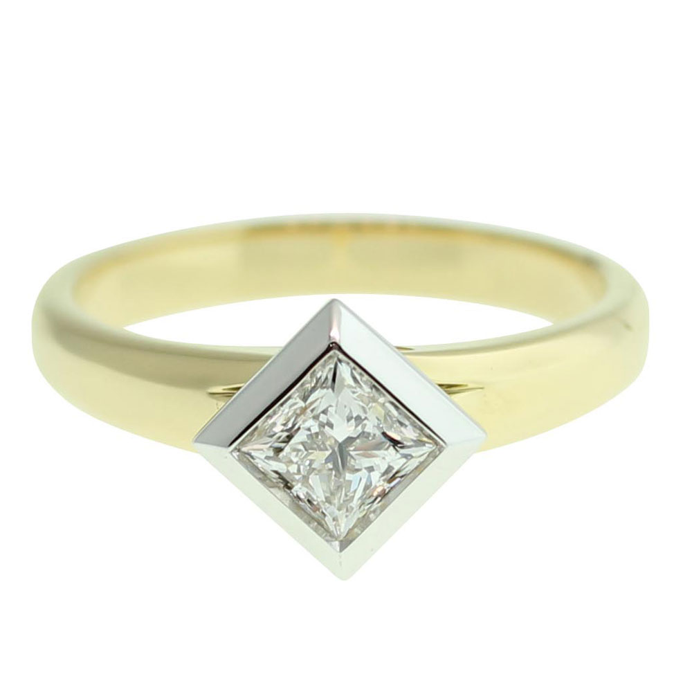 18CT YELLOW GOLD PRINCESS CUT 0.50CT DIAMOND ENGAGEMENT RING