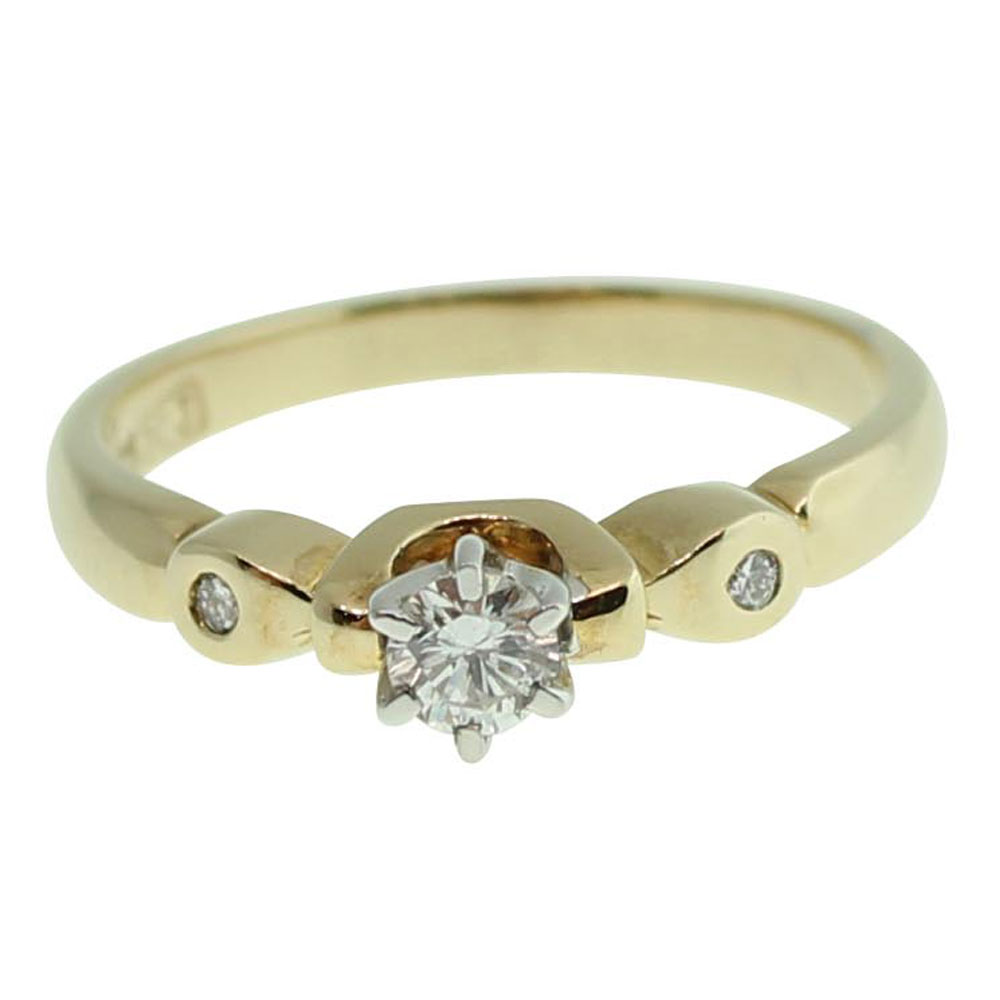 9CT YELLOW GOLD ROUND BRILLIANT CUT 0.17CT DIAMOND ENGAGEMENT RING