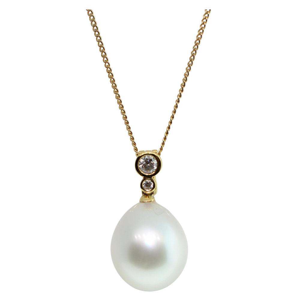 18CT YELLOW GOLD SOUTH SEA PEARL DIAMONDS