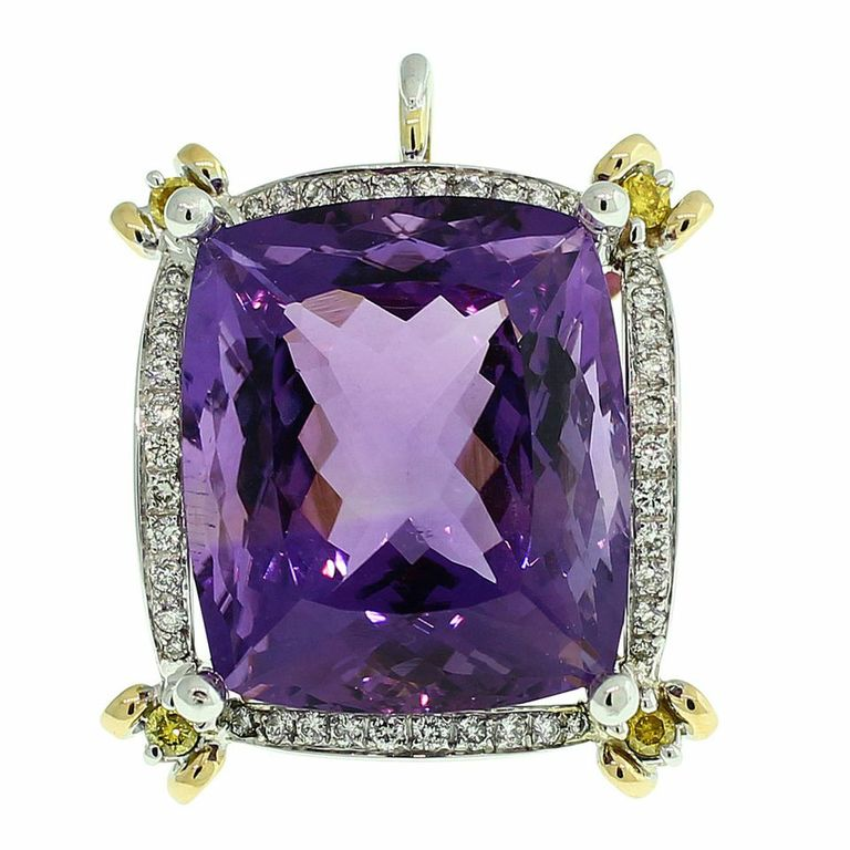 18CT GOLD HANDMADE 38.08CT AMETHYST & DIAMOND