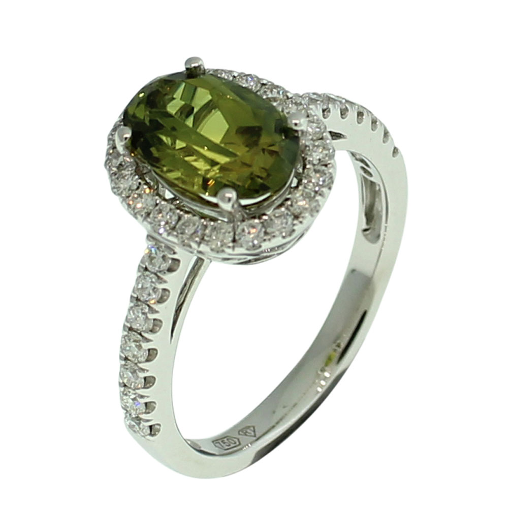 18CT WHITE GOLD AUSTRALIAN GREEN SAPPHIRE AND DIAMOND