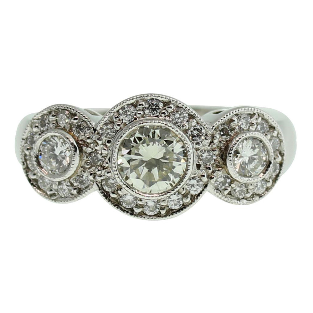 18CT WHITE GOLD HANDMADE DIAMOND RING