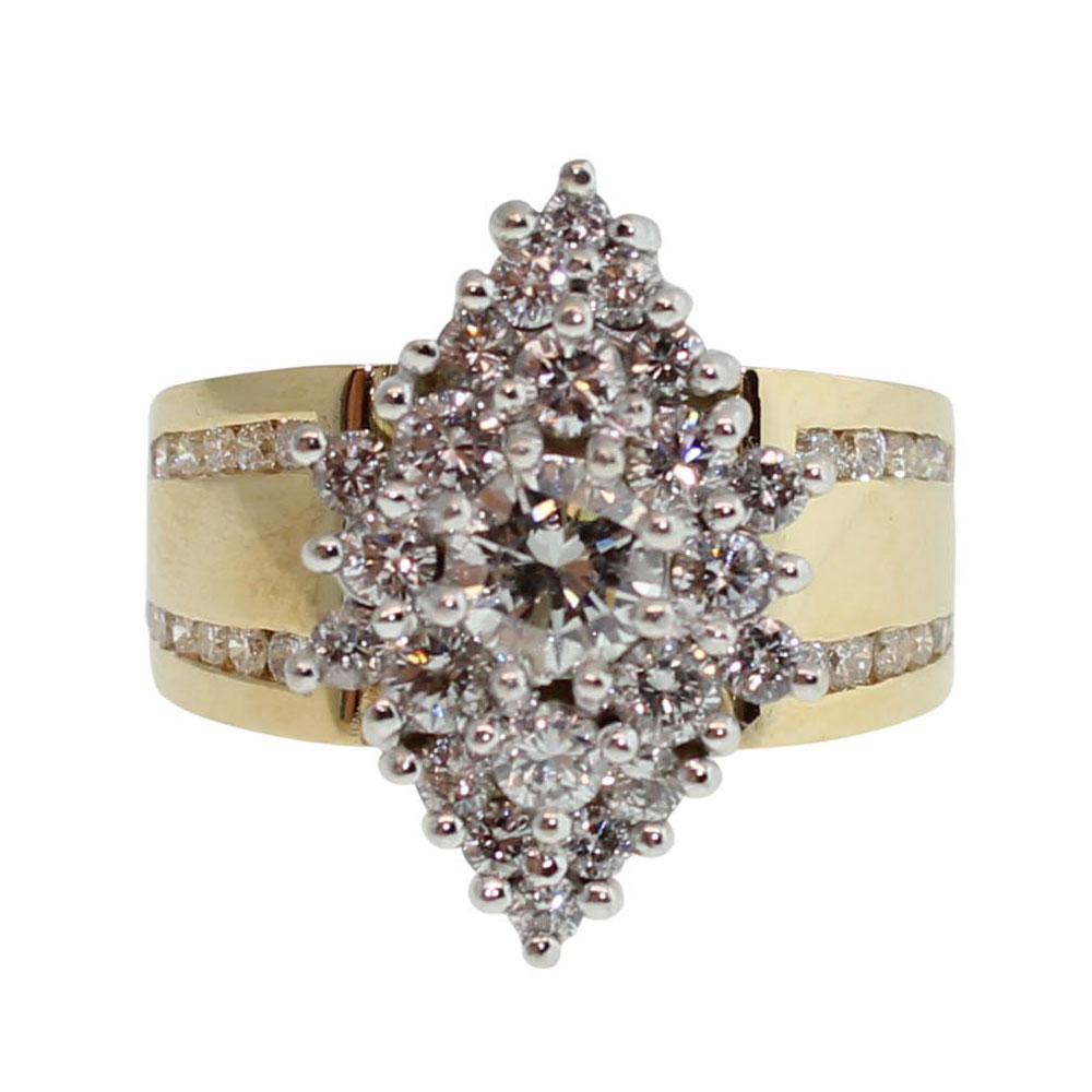 18CT YELLOW GOLD HANDMADE 1.96CT DIAMOND ENGAGEMENT