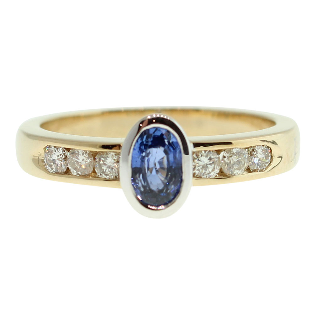 18CT GOLD HANDMADE CEYLON SAPPHIRE AND DIAMOND