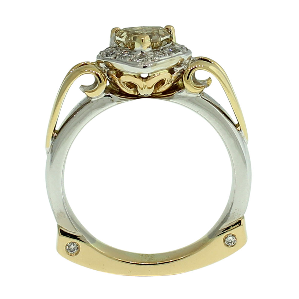 18CT GOLD HANDMADE FANCY YELLOW DIAMOND DRESS RING