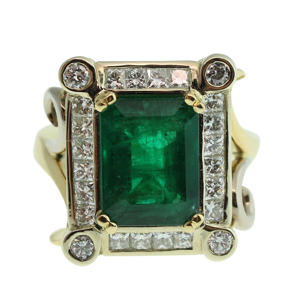 18CT GOLD HANDMADE NATURAL EMERALD AND DIAMOND