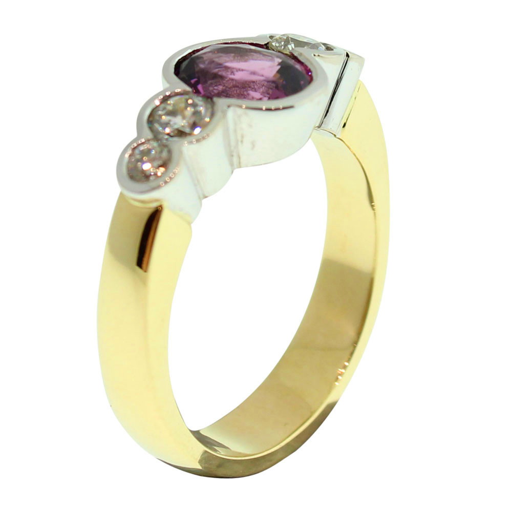 18CT GOLD HANDMADE TOURMALINE AND DIAMOND