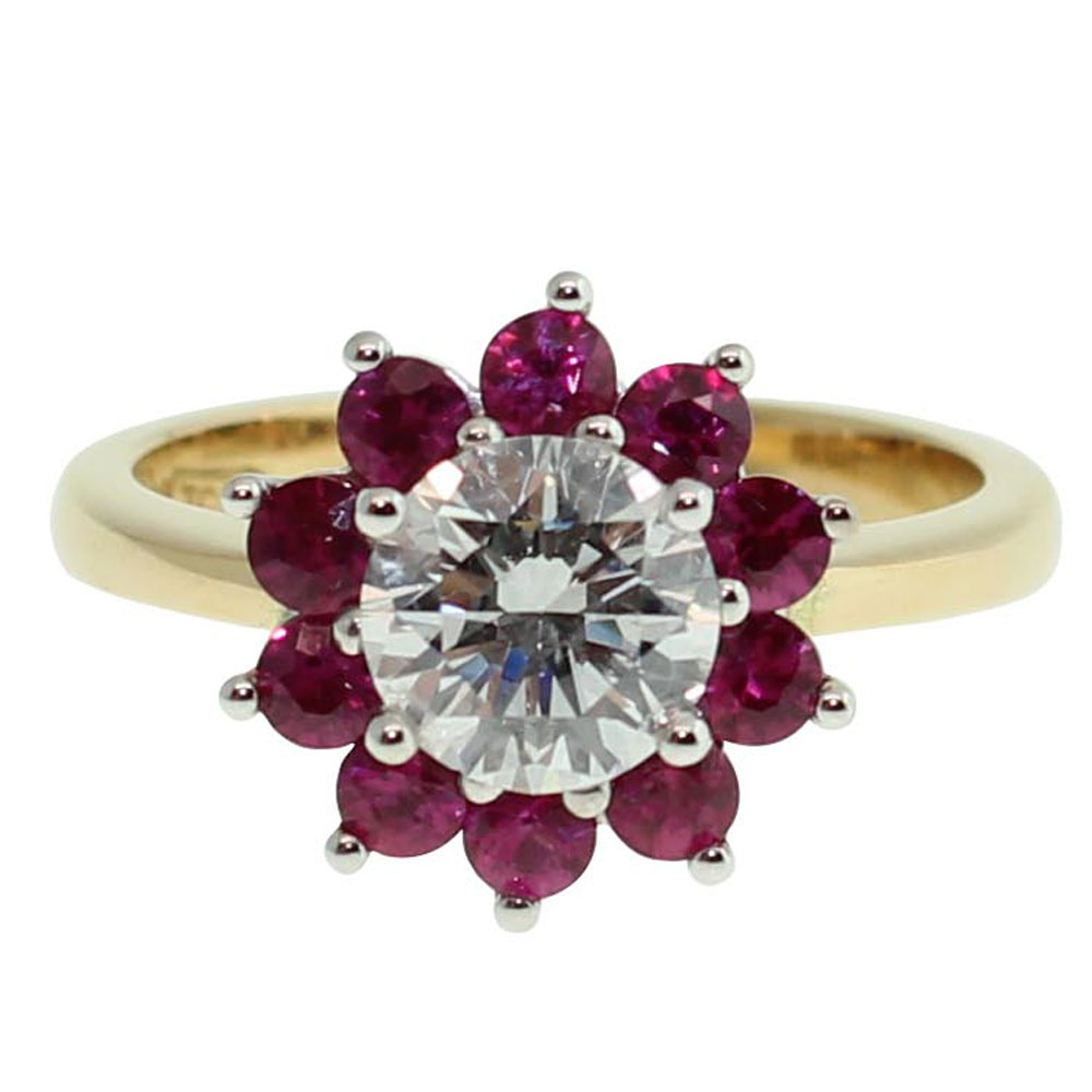 18CT YELLOW GOLD HANDMADE 1CT DIAMOND & .72CT RUBY