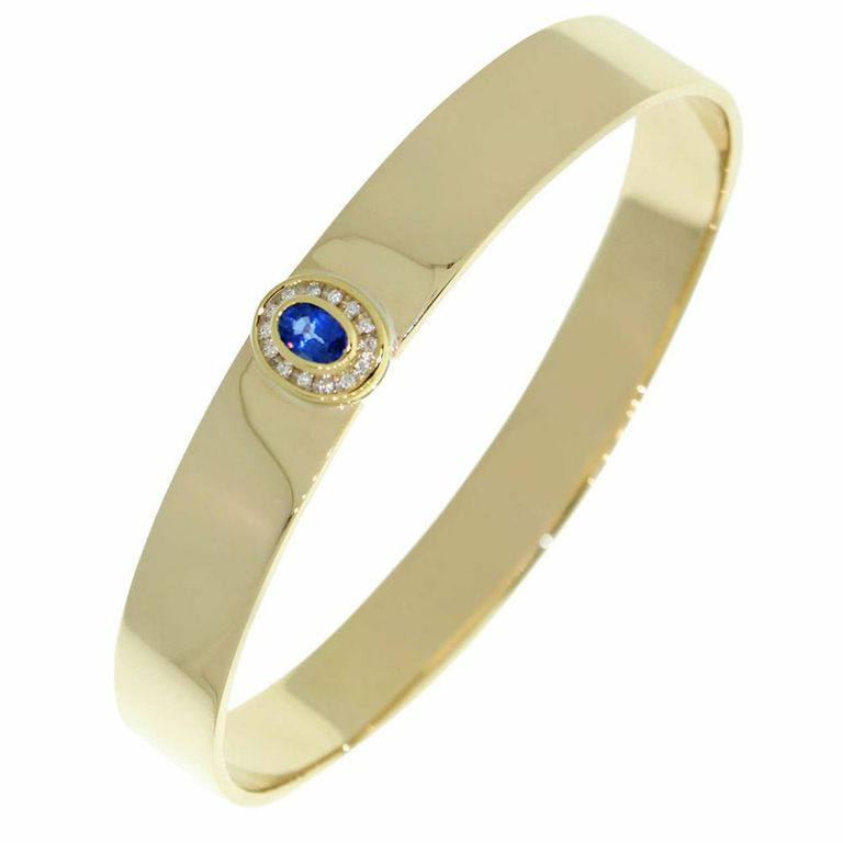 9CT GOLD HANDMADE SAPPHIRE & DIAMOND BANGLE