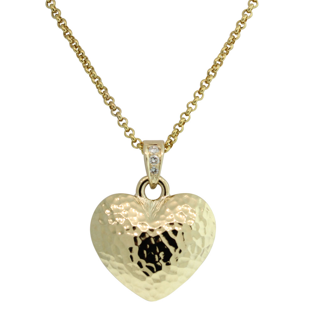 9CT YELLOW GOLD SOLID HANDMADE DIAMOND HEART
