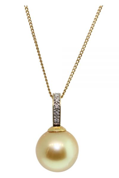 18CT YELLOW GOLD 12MM SOUTH SEA PEARL & DIAMOND PENDANT