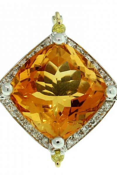 18CT GOLD HANDMADE 17.62CT CITRINE & DIAMOND