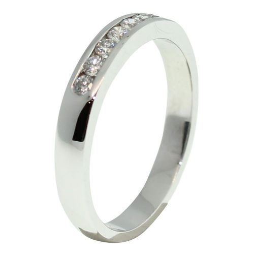 18CT WHITE GOLD HANDMADE PRINCESS CUT CHANNEL SET 0.21CT DIAMOND RING